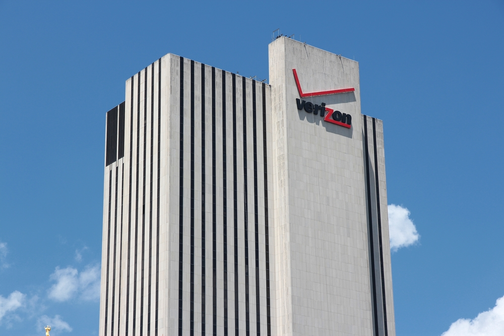 NEW YORK - JULY 5, 2013: Verizon building in New York. Verizon is a large American broadband and telecommunications company with 110.9 billion USD in revenue (2011).
