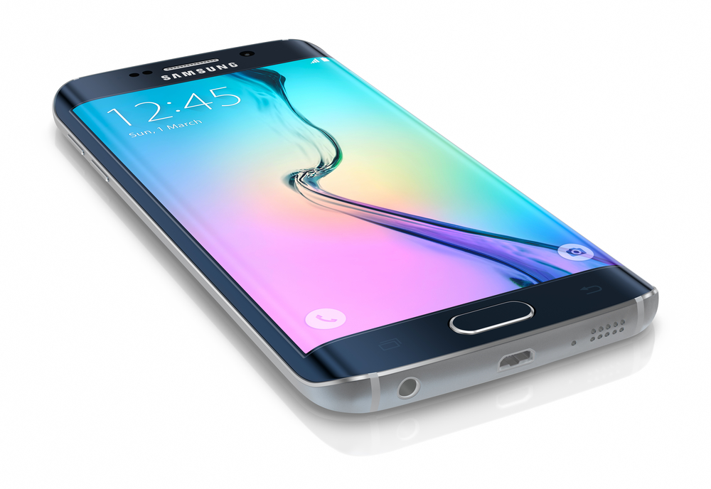 Galati, Romania - March 30, 2015: Samsung Galaxy S6 Edge is the first device with dual-curved glass display. The Samsung Galaxy S6 and Galaxy S6 Edge was launched at a press event in Barcelona on March 1 2015. Galaxy S6 has Quad HD Super AMOLED, 2560x1440, 577 PPI, Lightning-fast 64 bit and Octa-core processor.