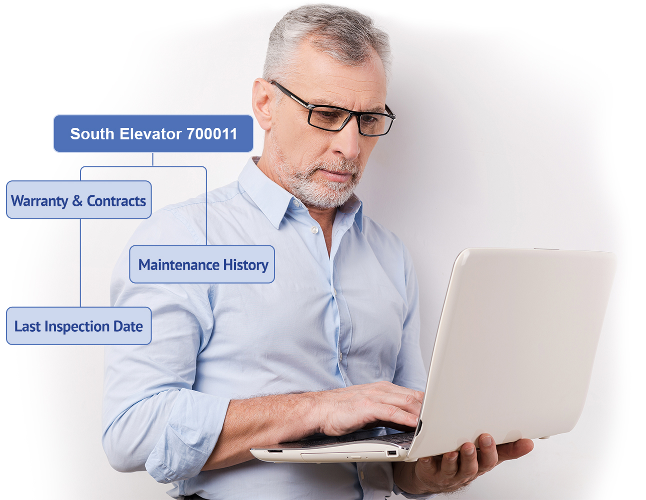 chief engineer using laptop to view hotel CMMS asset and documents