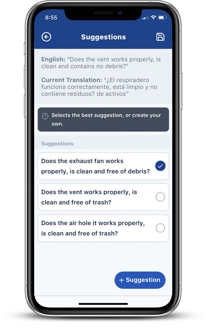 Transcendent mobile maintenance app showing language translation suggestions